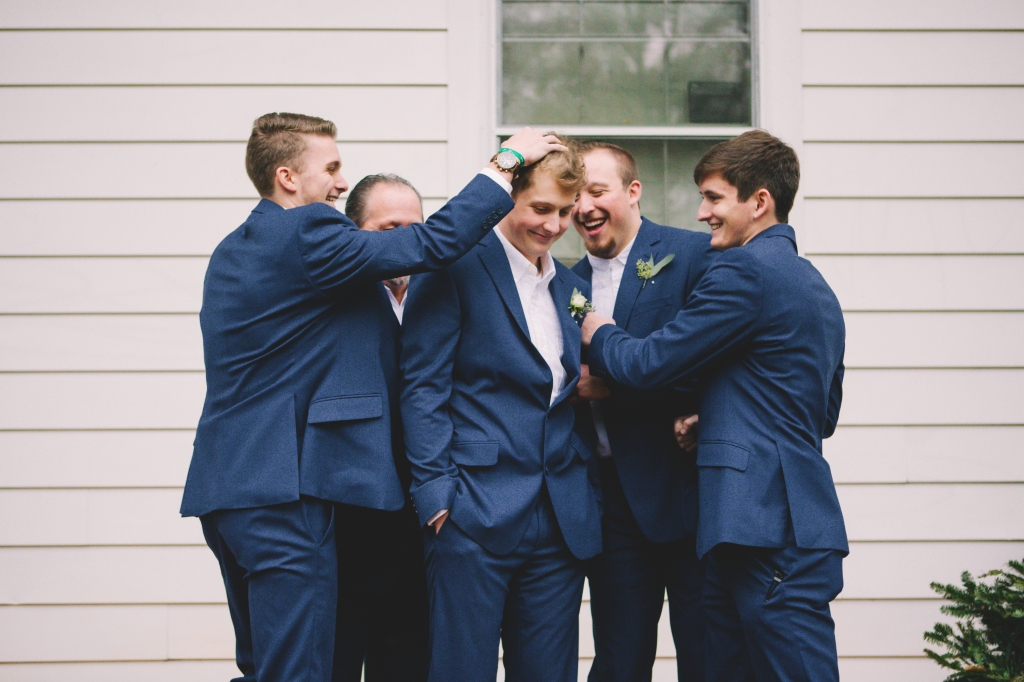 Groom and his groomsmen at Sleepy Hollow in Clemson, South Carolina.